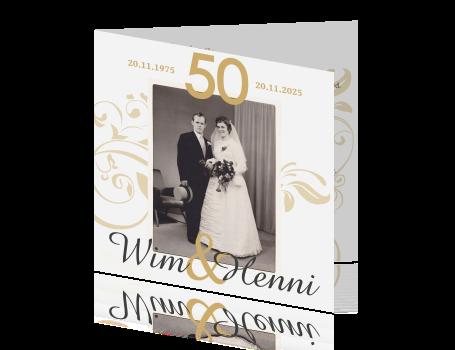 uitnodiging 50 jarig jubileum 50 jaar getrouwd uitnodiging met goud en zwart wit foto uitnodiging 50 jarig jubileum
