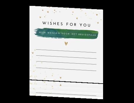 Beste Hip kaartje voor gastenboek met verf in goud en groen UD-79