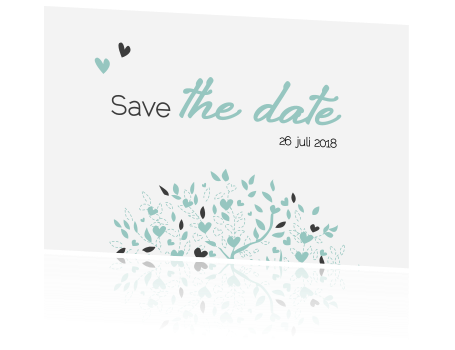 Trendy save the date met boom en hartjes