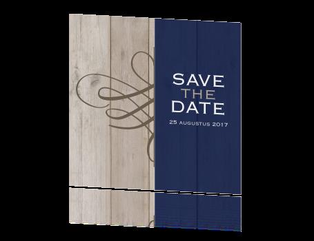 Chique save the date met krul en hout