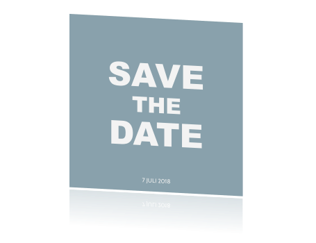 Hippe save the date kaart in grijs en blauw