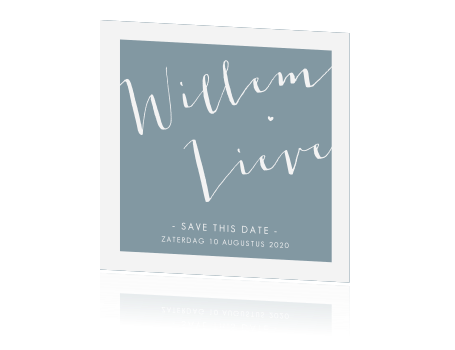 Prachtige save the date kaart in hip blauw