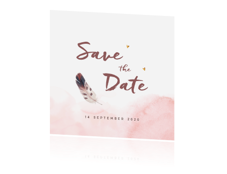 Originele save the date kaart met roze watercolor en een veer