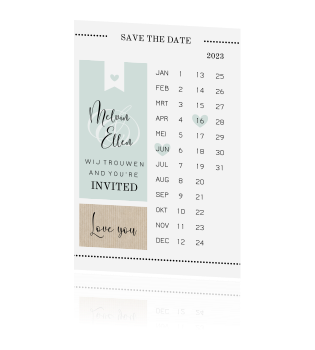 Trendy save the date met kalender