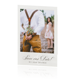 Vintage Save the Date kaart met Polaroid foto