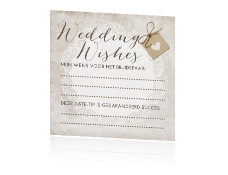Super hip wedding wishes kaartje met kant