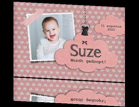 Fabulous Stoer doopkaartje meisje met hartjes &VV73
