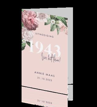Verjaardag Uitnodiging Vrouw Met Bloemen