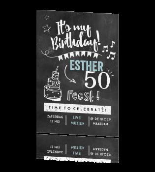 Vrolijke Sara Verjaardagsuitnodiging Op Krijt