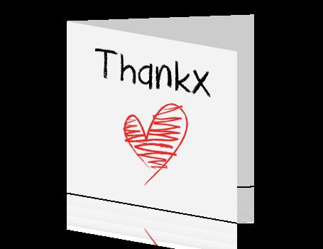 Een basic bedankkaart met hartje - Ontwerp kind ...
