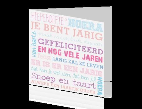 Populair Kaart felicitatie verjaardag in zachte kleuren UI59
